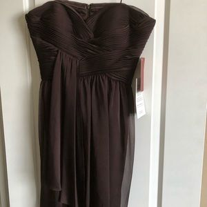 Short brown chiffon evening dress